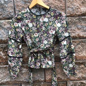Topshop Floral Puff Longsleeve Lace Blouse